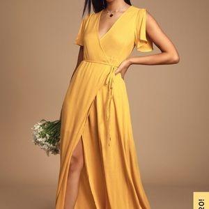 Lulu's Much Obliged Golden Yellow Wrap Maxi Dress